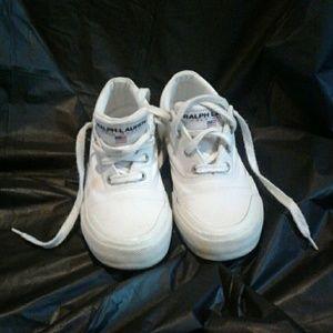 Vintage Polo Sport sz 8.5 White Canvas Shoes
